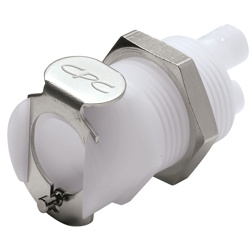 """1/16"""" ID (1.6mm ID) Twin Tube™ Panel Mount Hose Barb Coupling Body - Straight Thru (Insert Sold Separately)"""