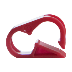 "Red Polypropylene Tubing Clamp for Tubing up to 0.25"" OD"