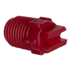 "25° Red PVDF Bex® F Series 1/4"" MNPT Spray Nozzle - Size 03"