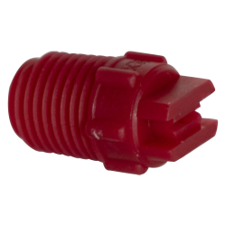 "50° Red PVDF Bex® F Series 1/4"" MNPT Spray Nozzle - Size 04"