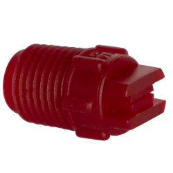 "65° Red PVDF Bex® F Series 1/4"" MNPT Spray Nozzle - Size 02"