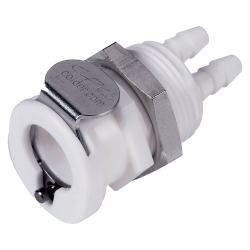 """1/8"""" ID (3.2mm ID) Twin Tube™ Panel Mount Hose Barb Coupling Body - Straight Thru (Insert Sold Separately)"""