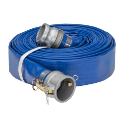 "4"" Blue PVC Water Discharge Hose Assembly w/Female Coupler & Male Adapter Ends"