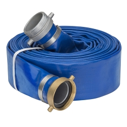 "4"" Blue PVC Water Discharge Hose Assembly w/Pin Lug Female & Male Ends"