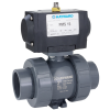 "3/4"" PMDTBH Series Pneumatic Actuator & True Union PVC Ball Valve with FPM O-rings"