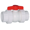 """1/2"""" Threaded/Socket White PVC QTA Series Compact Ball Valve with EPDM O-Ring"""