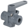 "1/4"" FNPT Series 350 3-Way PVC Ball Valve with Buna-N Seals"