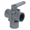 "3/4"" Socket Series 350 3-Way PVC Ball Valve with Buna-N Seals"