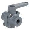 "1/4"" FNPT Series 350 3-Way PVC Ball Valve with FKM Seals"