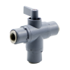 """3/8"""" OD Push-to-Connect Series 326 3-Way PVC Ball Valve with FKM Seals"""