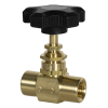 "1/4"" FNPT x 1/4"" FNPT 589 Series Brass Needle Valve with PTFE Stem Seal"