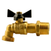 "3/4"" MNPT x 3/4"" GHT No Lead 1/4 Turn Brass Hose Bibb"