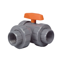 "4"" CPVC Lateral LA Series 3-Way Valve w/Threaded Ends"