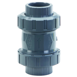 "3/8"" PVC 562 True Union Cone Check Valve with Spring & FPM Seals"