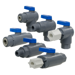 "3/8"" OD Push-To-Connect x 3/8"" OD Push-To-Connect Series 638 Straight Polypropylene Ball Valve with FKM Seal"
