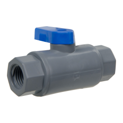 "1/4"" FNPT x 1/4"" FNPT Series 638 Straight PVC Ball Valve with Buna-N Seal"