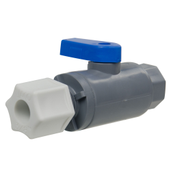 "3/8"" OD Tube Jaco x 1/4"" FNPT Series 638 Straight PVC Ball Valve with Buna-N Seal"