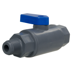 "1/4"" MNPT x 1/4"" FNPT Series 638 Straight PVC Ball Valve with Buna-N Seal"