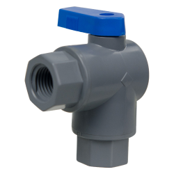 "1/4"" FNPT x 1/4"" FNPT Series 657 Right Angle PVC Ball Valve with Buna-N Seal"