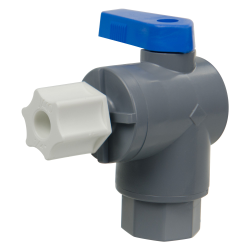 "1/4"" FNPT x 1/4"" OD Tube Jaco Series 657 Right Angle PVC Ball Valve with Buna-N Seal"