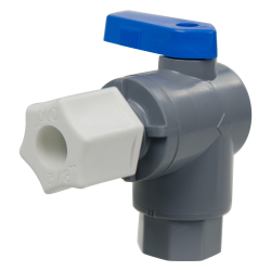 "1/4"" FNPT x 3/8"" OD Tube Jaco Series 657 Right Angle PVC Ball Valve with Buna-N Seal"