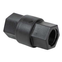 "1/2"" FNPT x 1/2"" FNPT Series 685 Polypropylene Check Valve with FKM Seals, 1/3 PSI Cracking Pressure & 302 SS Spring"