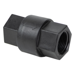 "3/4"" FNPT x 3/4"" FNPT Polypropylene Check Valve with FKM Seals, 1/3 PSI Cracking Pressure & 302 SS Spring"