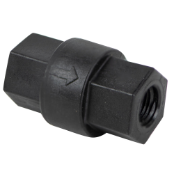 "1/4"" FNPT x 1/4"" FNPT Polypropylene Check Valve with FKM Seals, 1/3 PSI Cracking Pressure & 302 SS Spring"