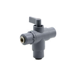 "1/4"" OD Push-to-Connect Series 326 3-Way PVC Ball Valve with EPDM Seals"