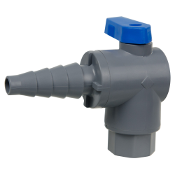 "1/4"" FNPT x 3/8"" to 5/8"" Tapered Barb Series 657 Right Angle PVC Ball Valve with Buna-N Seal"