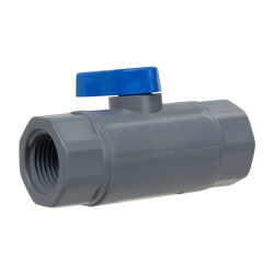"3/8"" FNPT x 3/8"" FNPT Series 638 Straight PVC Ball Valve with Buna-N Seal"