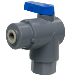 "1/4"" FNPT x 1/4"" OD Tube J. Guest Series 657 Right Angle PVC Ball Valve with Buna-N Seal"