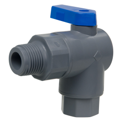 "1/4"" FNPT x 3/8"" OD Tube J. Guest Series 657 Right Angle PVC Ball Valve with Buna-N Seal"