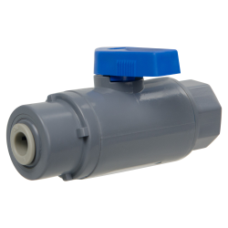 "1/4"" FNPT x 1/4"" OD Tube J. Guest Series 638 Straight PVC Ball Valve with Buna-N Seal"