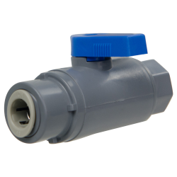 "1/4"" FNPT x 3/8"" OD Tube J. Guest Series 638 Straight PVC Ball Valve with Buna-N Seal"