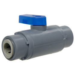 "3/8"" OD Tube J.Guest x 3/8"" OD Tube J. Guest Series 638 Straight PVC Ball Valve with Buna-N Seal"
