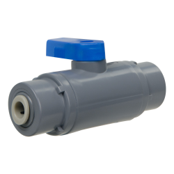 "1/4"" OD Tube J.Guest x 1/4"" OD Tube J. Guest Series 638 Straight PVC Ball Valve with Buna-N Seal"