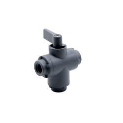 "1/8"" FNPT Series 326 3-Way PVC Ball Valve with Buna-N Seals"