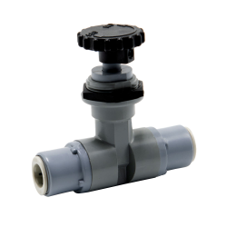 """3/8"""" OD Push-to-Connect x 3/8"""" OD Push-to-Connect PVC Needle Valve with EPDM Seal"""