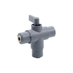 "1/4"" OD Push-to-Connect Series 326 3-Way PVC Ball Valve with FKM Seals"