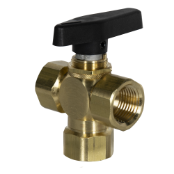 "1/4"" FNPT x 1/4"" FNPT x 1/4"" FNPT 701 Series 3-Way Brass Ball Valve with Buna-N Seal"