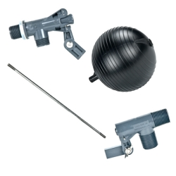 Heavy Duty PVC Float Valves, Rods & Float Balls