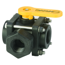 "1"" NPT Banjo® 3-Way Polypropylene Side Load Ball Valve"