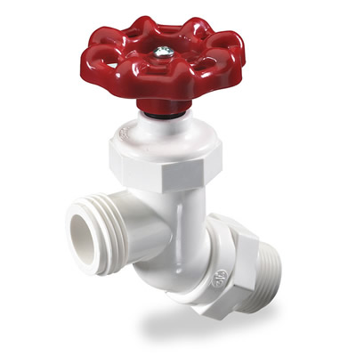 White PVC 45° Inlet Hose Bibb Valve | U.S. Plastic Corp.