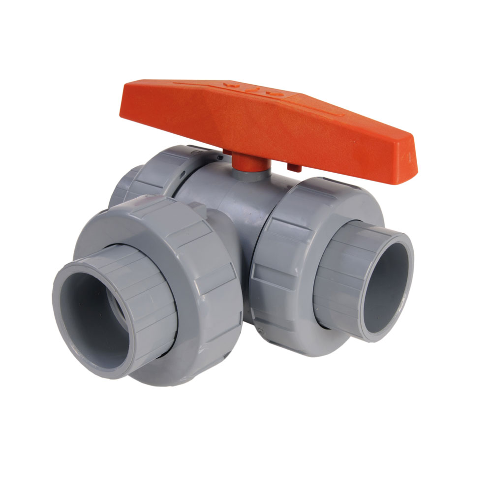 "1-1/2"" CPVC Lateral LA Series 3-Way Valve w/Threaded & Socket Ends"