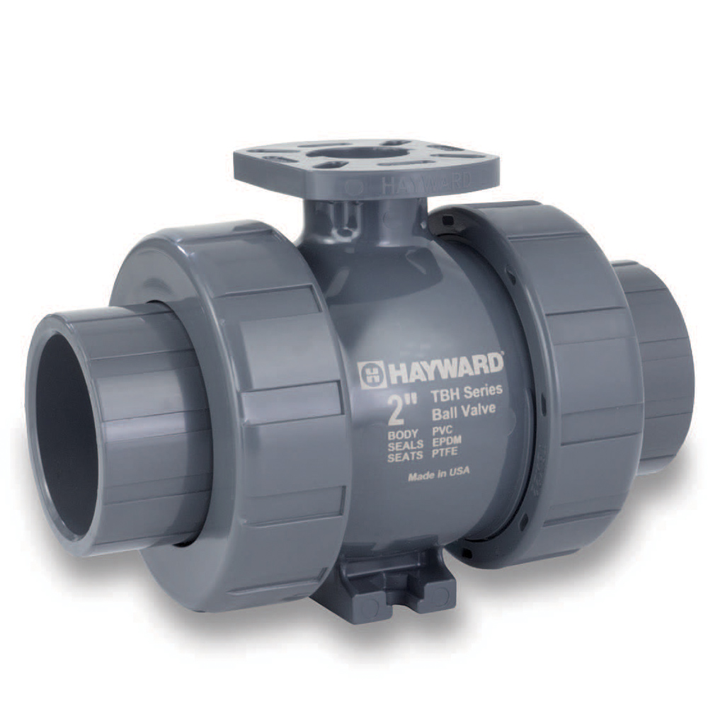 "1-1/2"" HCTBH Series PVC True Union Ball Valves for Actuation with EPDM O-rings"