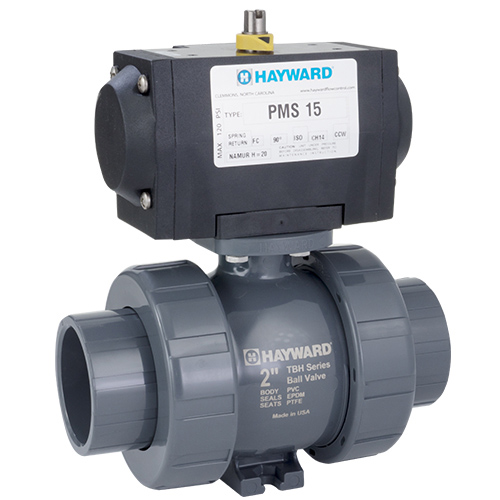 "1"" PMDTBH Series Pneumatic Actuator & True Union PVC Ball Valve with FPM O-rings"