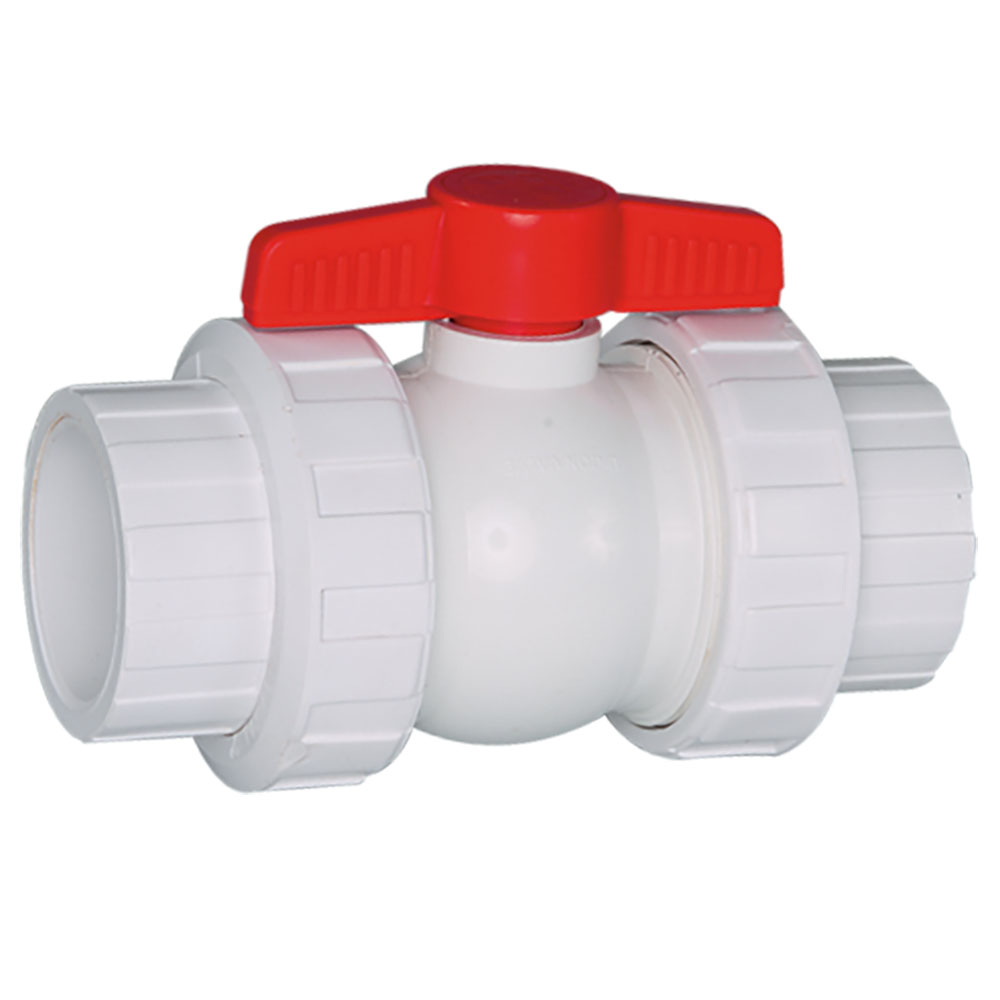"1/2"" Threaded/Socket White PVC QTA Series Compact Ball Valve with EPDM O-Ring"