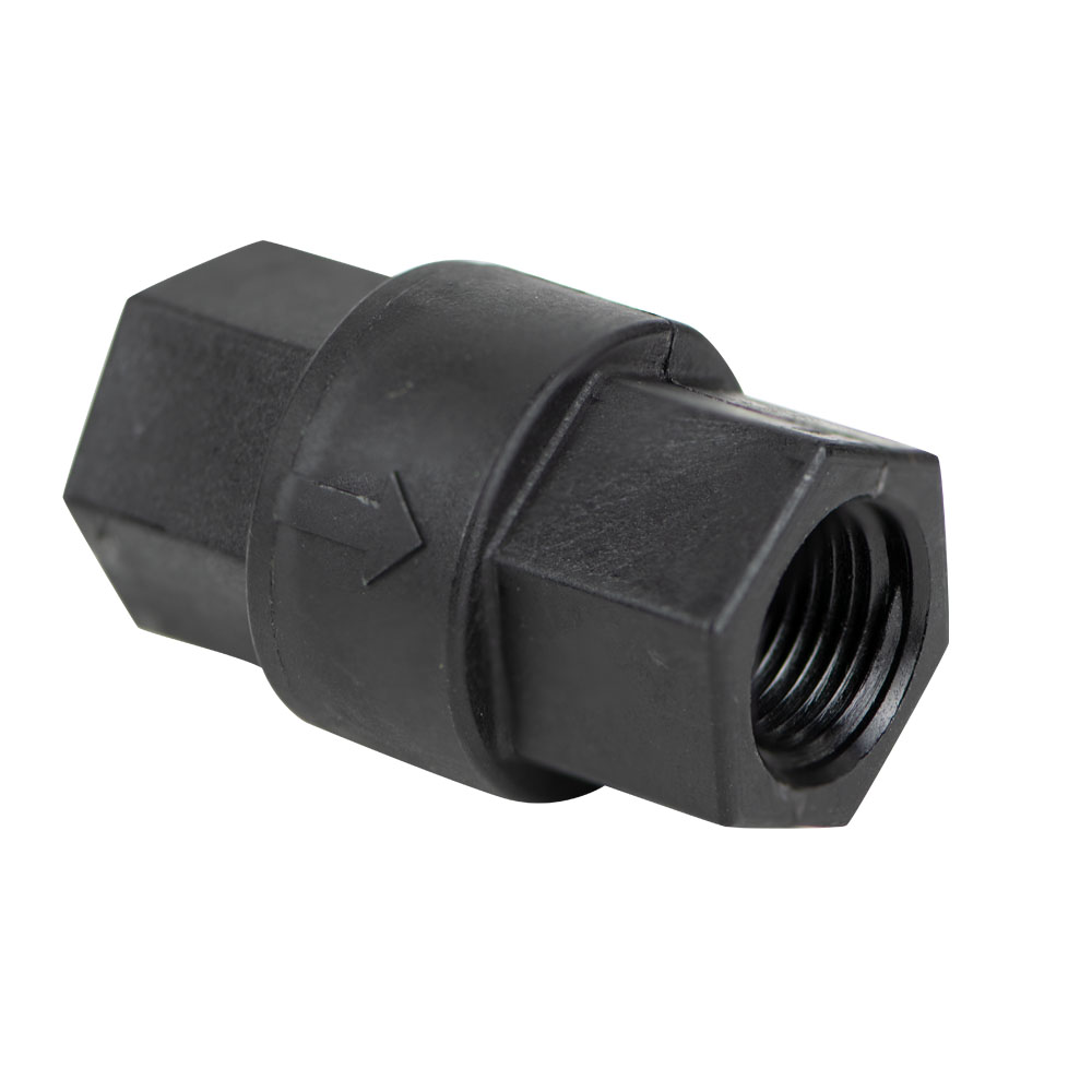 "3/8"" FNPT x 3/8"" FNPT Series 693 Polypropylene Check Valve with FKM Seals, 1/3 PSI Cracking Pressure & 302 SS Spring"