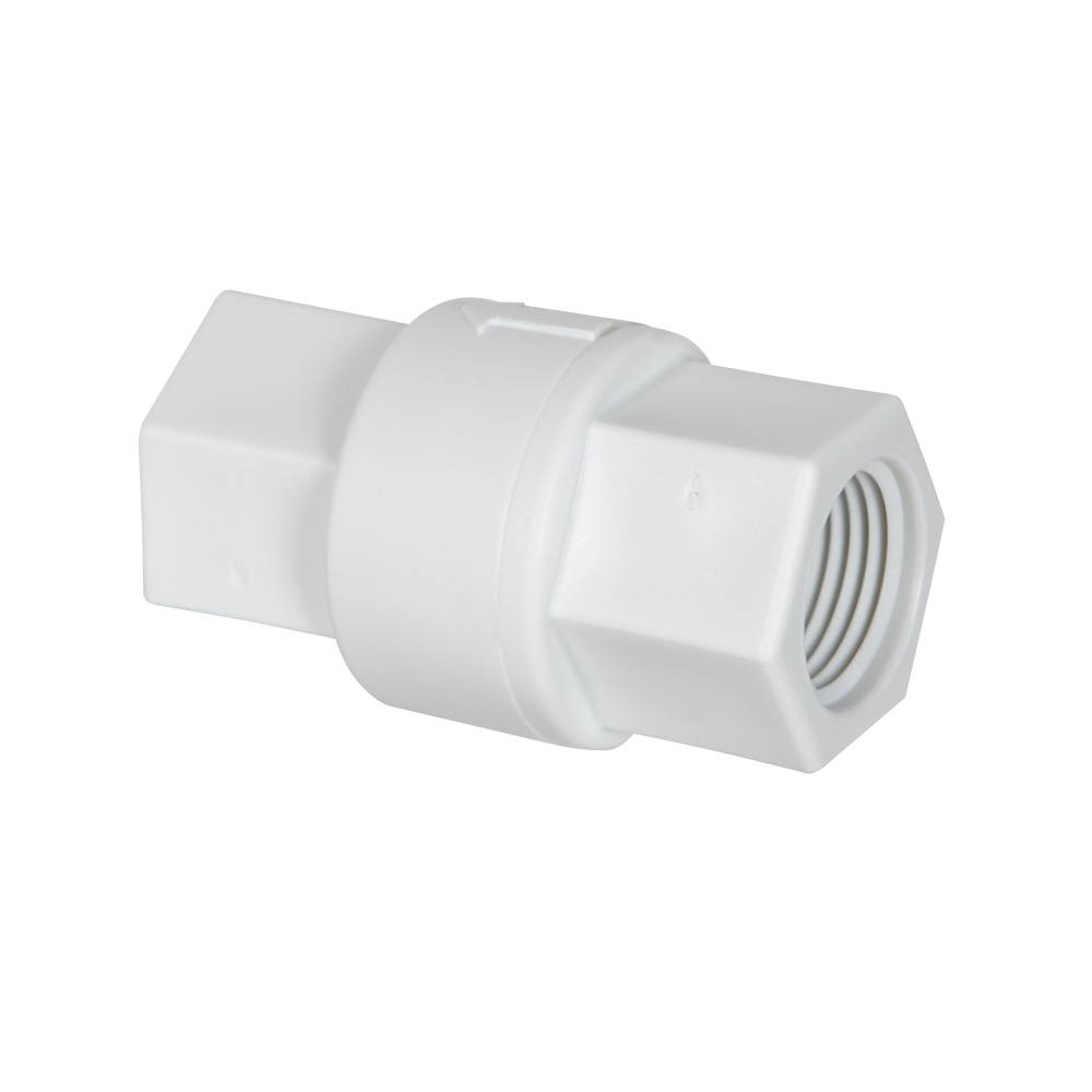"1/2"" FNPT x 1/2"" FNPT Polypropylene Check Valve with Aflas® Seals, 3 PSI Cracking Pressure & Hastelloy Spring"